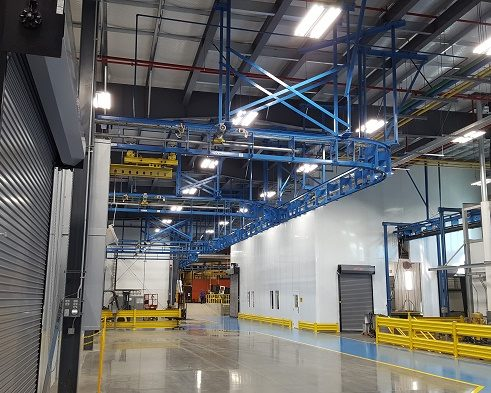 Boom Truck Component Finishing Line-IntelliTrak 1500 Series Overhead Conveyor