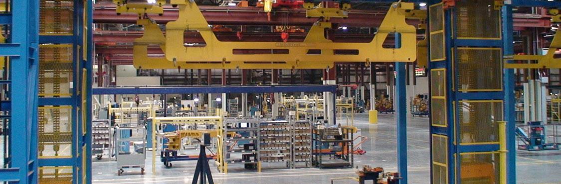 IntelliTrak 3500 Series Overhead Conveyor with 4 post vertical drop lift