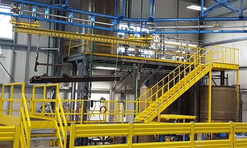 IntelliTrak 1500 Series Overhead  Conveyor Boom Truck Component Finishing Line Ceiling supported with platform