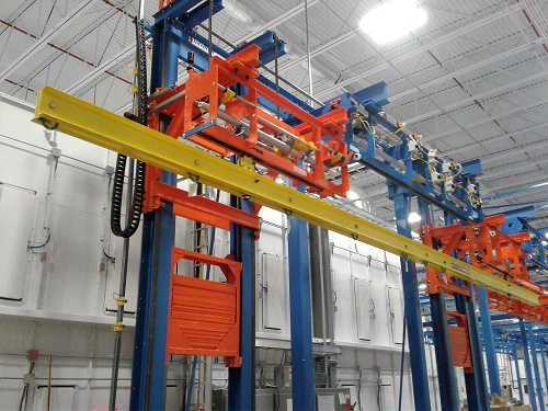 Airplane Wing Finishing Line with Two Post Vertical Lift and 36' Load Bar - IntelliTrak 1500 Series Overhead Conveyor