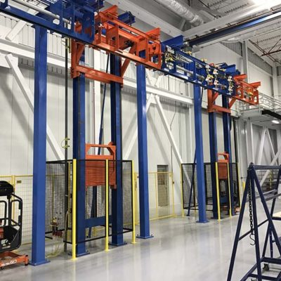Airplane Wing Finishing Line with Two Post Vertical Lift - IntelliTrak 1500 Series Overhead Conveyor