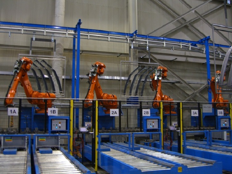 Automotive Pillar Shot Blast Line - IntelliTrak 500 Series Overhead Conveyor