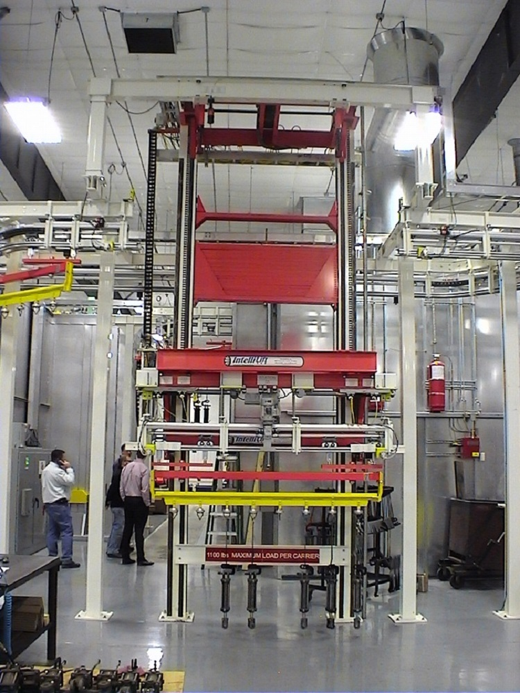 Hydraulic Cylinder Finishing Line with Two Post Cantilever Lift IntelliTrak 500 Series Overhead Conveyor