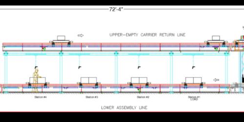 Automotive Console Assembly Line - IntelliTrak 1500i Series Inverted Conveyor