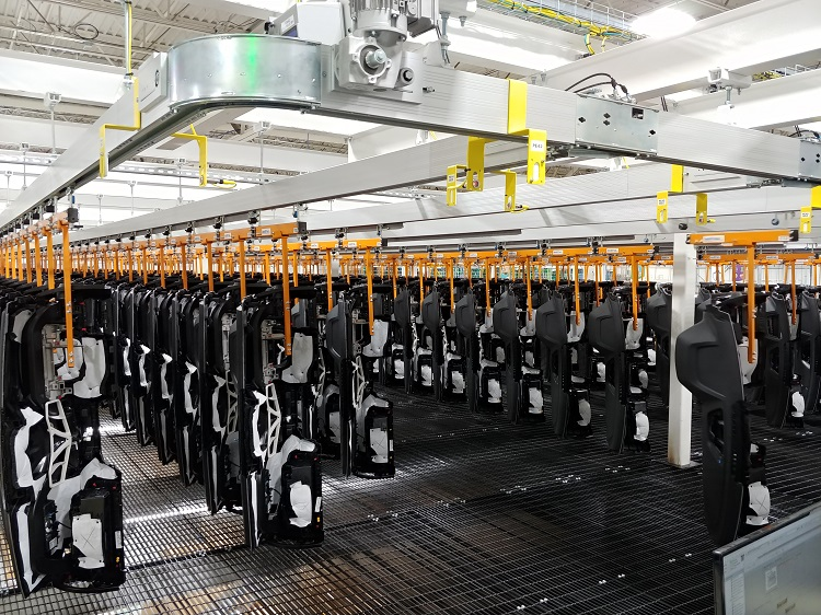 IntelliTrak 150 Series Overhead Conveyor - Automotive Instrument Panel Storage and Retrieval Line